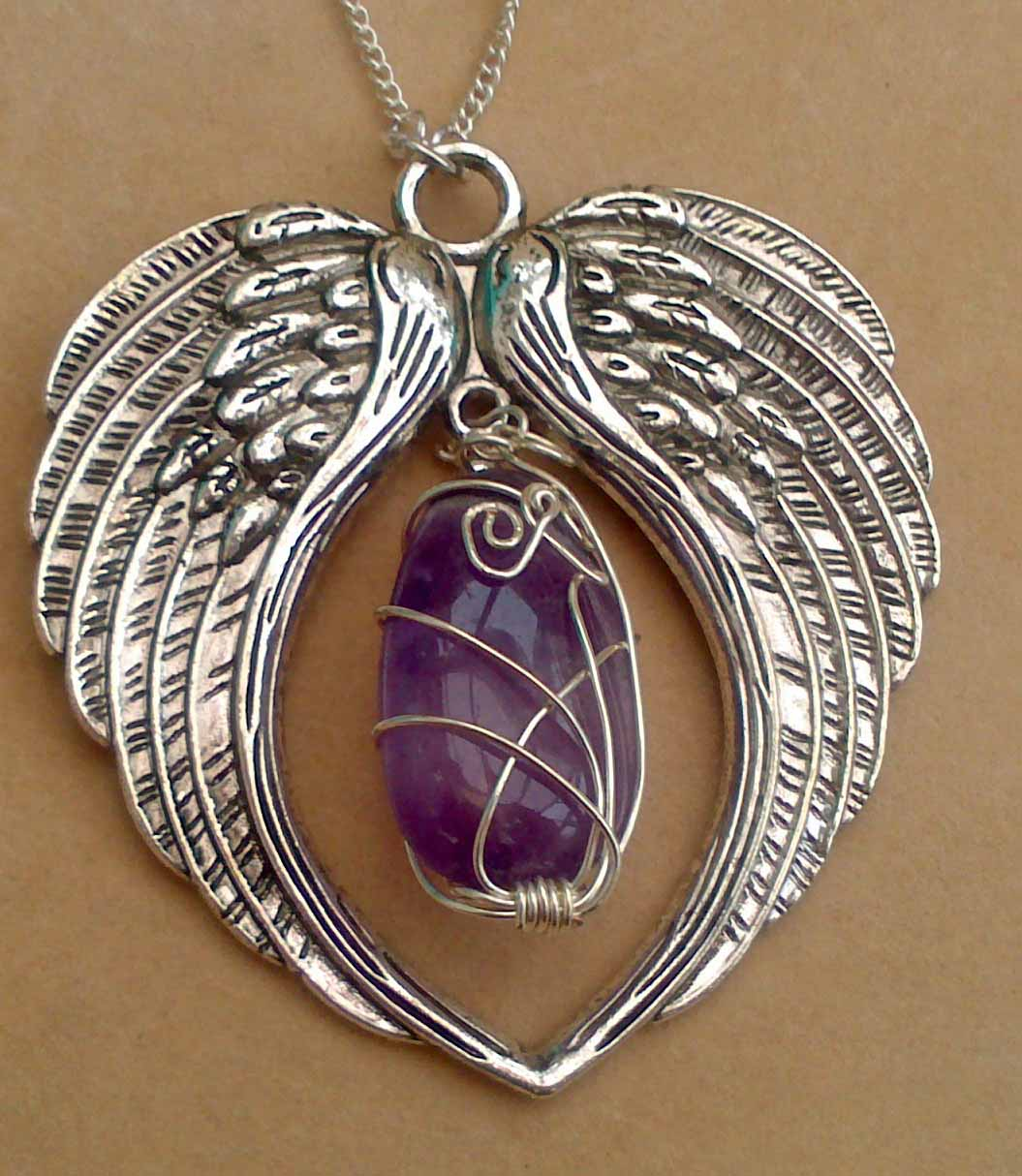 Angel Wings with Amethyst Necklace - Give the Gift that Gives - Handmade Healing Crystal Jewellery by Eva Maria Hunt