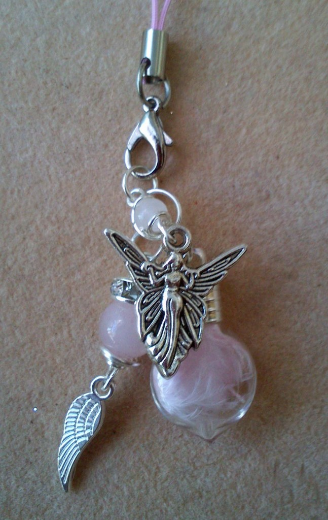 Angel Charm with Rose Quartz and Bottled Pink feather by Eva Maria Hunt www.spiritual-wonders.co.uk