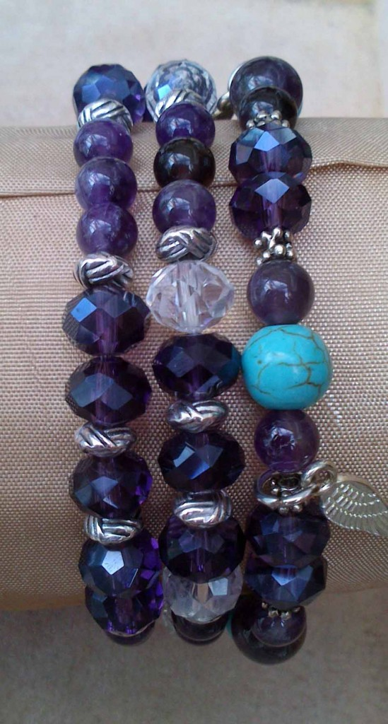 Crystal bracelets made with Amethyst and Turquoise by Eva Maria Hunt www.spiritual-wonders.co.uk