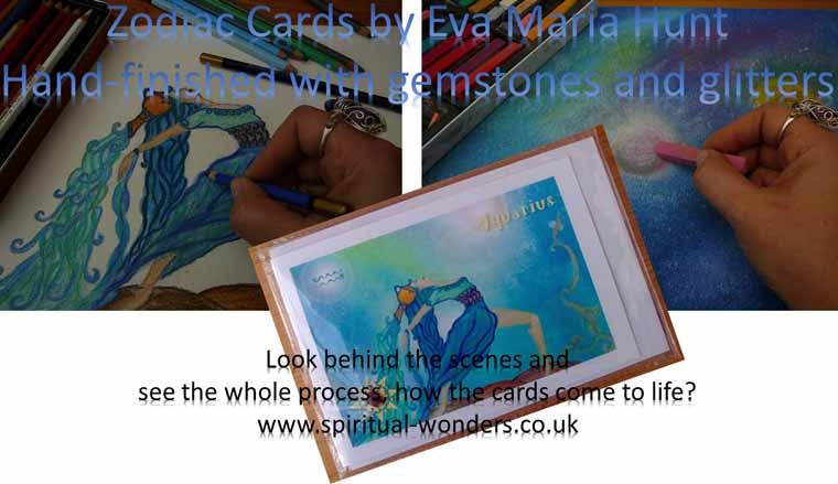 Aquarius Zodiac Card by Eva Maria Hunt