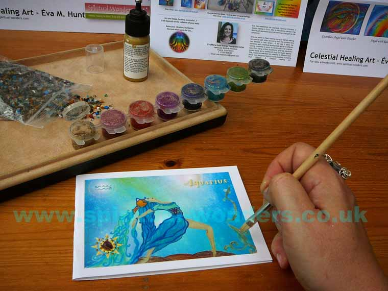 Using glitter on the Aquarius Zodiac Card by Eva Maria Hunt
