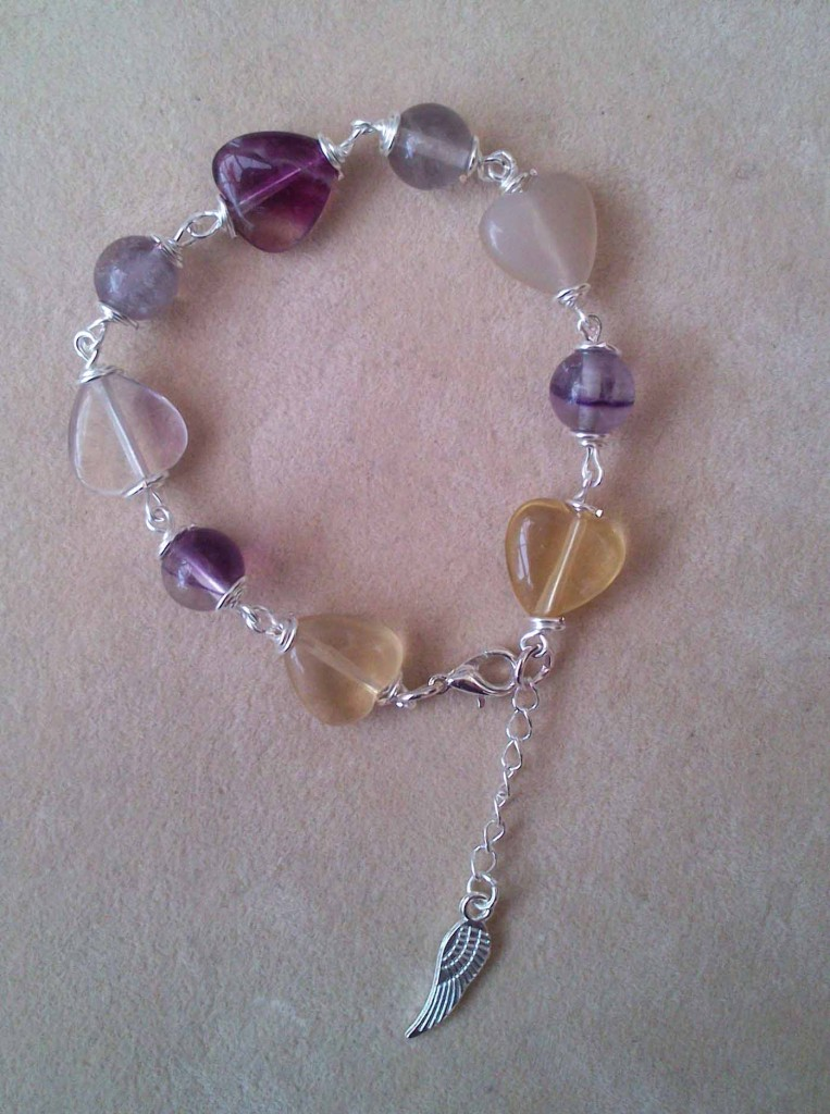Fluorite heart bracelet with angel wing by Eva Maria Hunt www.spiritual-wonders.co.uk
