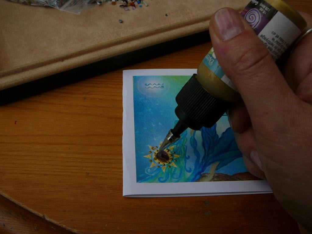 Adding gemstone chips (Birthstones) to the Aquarius Zodiac Card by Eva Maria Hunt