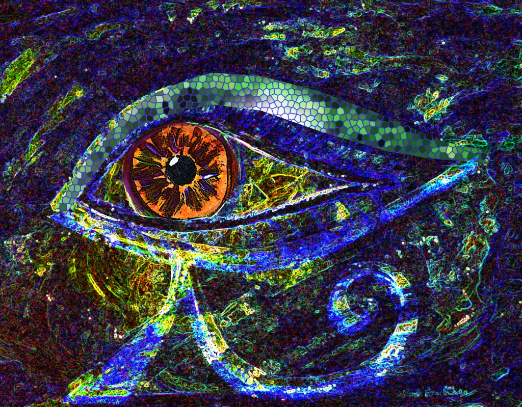The Eye of Horus with Orange, Watercolour and Digital Art by Eva Maria Hunt Energy Therapist and Artist
