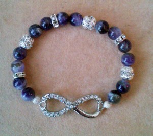 Infinity Amethyst elastic bracelet with Rhinestones by Eva Maria Hunt - www.spiritual-wonders,co.uk