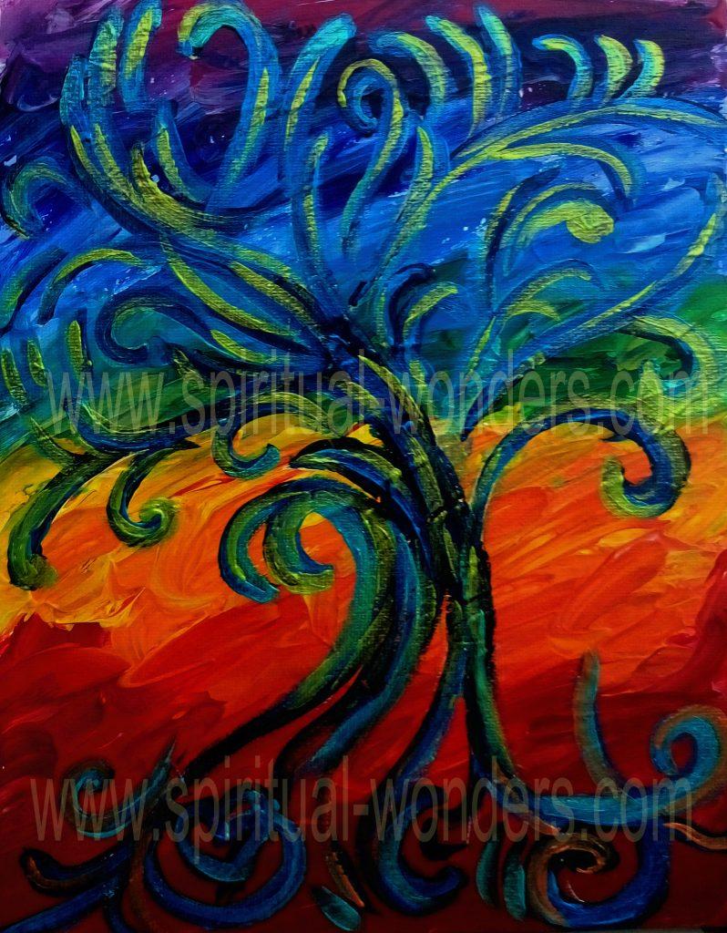 Tree of Creativity, Acrylics by Eva Maria Hunt, Energy Therapist and Artist