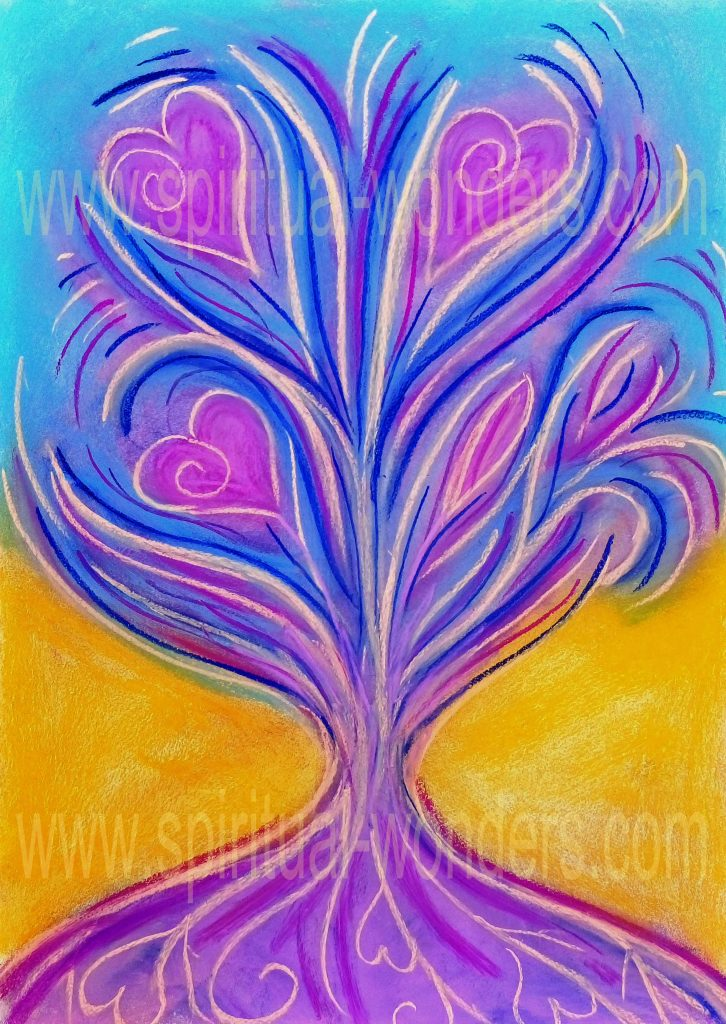 The Tree of Love, Soft Pastel by Eva Maria Hunt Energy, Therapist & Artist
