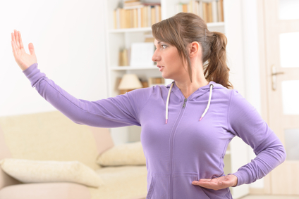 Woman doing Qi gong exercise - Qi Gong Tuition by Eva Maria Hunt Energy Therapist and Artist