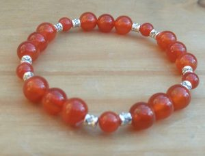 Carnelian with metal spacer beads June 2017